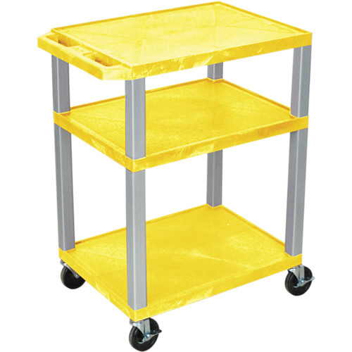 "Luxor 34"" A/V Cart with 3 Shelves, 3-Outlet Electrical Assembly (Yellow Shelves, Nickel-Colored Legs)"