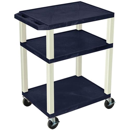 "Luxor 34"" Tuffy Open Shelf A/V Cart with 3 Shelves (Navy Shelves, Putty Legs)"