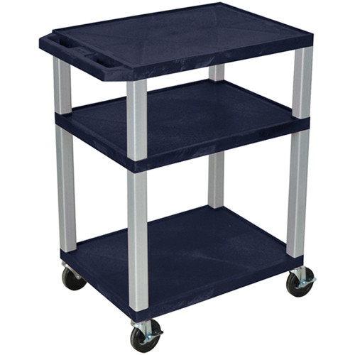 "Luxor 34"" A/V Cart with 3 Shelves (Navy Shelves, Nickel-Colored Legs)"