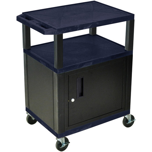 "Luxor 34"" A/V Cart with 2 Shelves and Cabinet (Navy Shelves, Black Legs)"