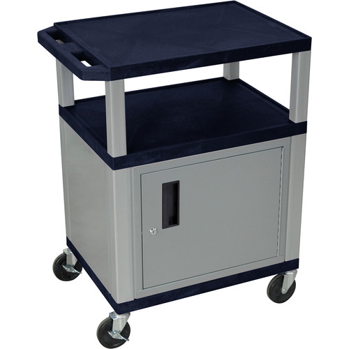 "Luxor 34"" A/V Cart with 3 Shelves and Cabinet (Navy Shelves, Nickel-Colored Legs and Cabinet)"