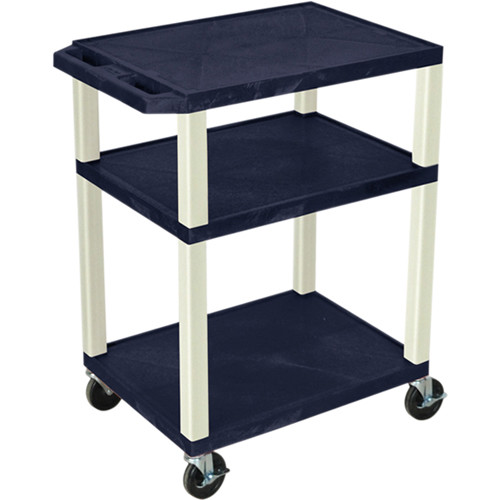 "Luxor 34"" Tuffy Open Shelf A/V Cart with 3 Shelves and 3-Outlet Electrical Assembly (Navy Shelves, Putty Legs)"