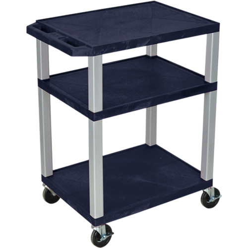 "Luxor 34"" A/V Cart with 3 Shelves, 3-Outlet Electrical Assembly (Navy Shelves, Nickel-Colored Legs)"