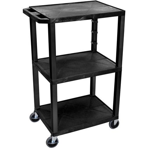 "Luxor 42"" A/V Cart with 3 Shelves (Black Shelves, Putty Legs)"