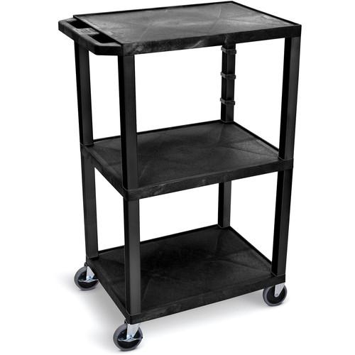 """Luxor 42""""H Av Cart - Three Shelves - Black Legs"""