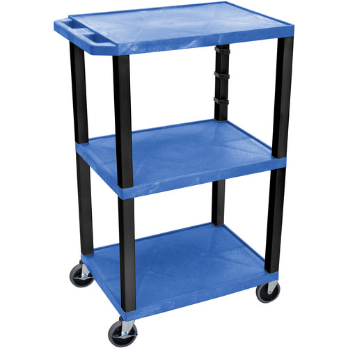 "Luxor 42"" A/V Cart with 3 Shelves (Blue Shelves, Black Legs)"
