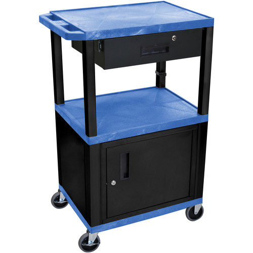 "Luxor 42"" A/V Cart with 3 Shelves, Cabinet, Locking Drawer, and Electrical Assembly (Blue Shelves, Black Legs)"