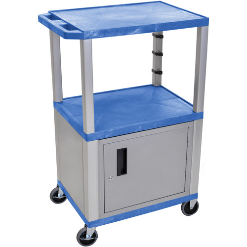 "Luxor 42"" A/V Cart with 2 Shelves and Cabinet (Blue Shelves, Nickel-Colored Legs and Cabinet)"