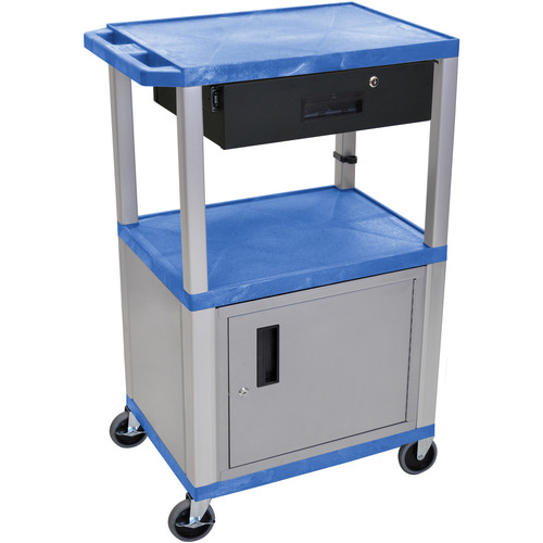 """Luxor 42"""" A/V Cart with 2 Shelves,Cabinet, 3-Outlet Electrical Assembly, and Locking Drawer (Blue Shelves, Nickel-Colored Legsand Cabinet)"""