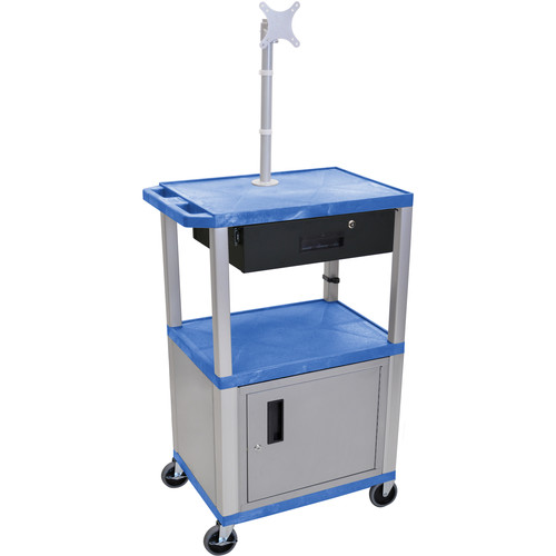 """Luxor 42"""" A/V Cart with Monitor Mount, 3 Shelves, Cabinet, Locking Drawer & Electric Assembly (Blue)"""