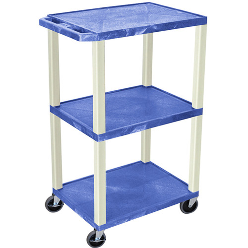 "Luxor 42"" 3-Shelf AV/Utility Cart (Blue Shelves / Putty Legs, Electric)"