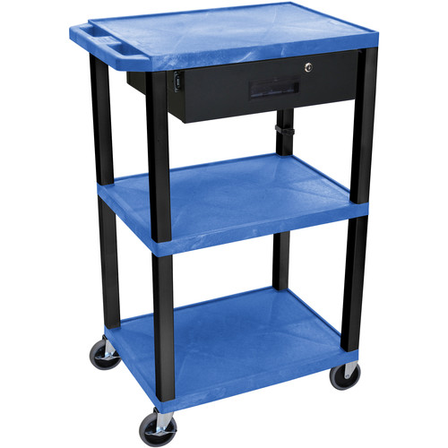 "Luxor 42"" A/V Cart with 3 Shelves Locking Drawerand Electrical Assembly (Blue Shelves, Black Legs)"