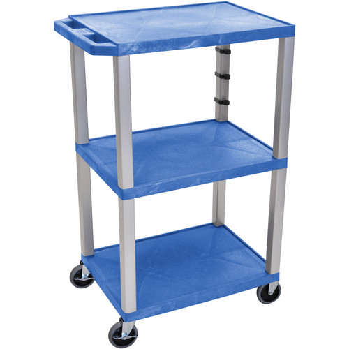 "Luxor 42"" A/V Cart with 3 Shelves and 3-Outlet Electrical Assembly (Blue Shelves, Nickel-Colored Legs)"