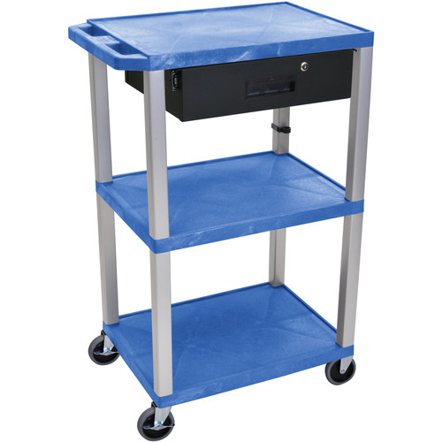"Luxor 42"" A/V Cart with 3 Shelves, 3-Outlet Electrical Assembly, and Locking Drawer (Blue Shelves, Nickel-Colored Legs)"