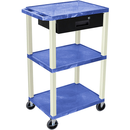 "Luxor 42"" A/V Cart with 3 Shelves, 3-Outlet Electrical Assembly, and Locking Drawer (Blue Shelves and Putty Legs)"