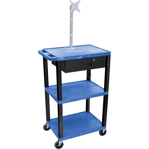 """Luxor 42"""" A/V Cart with Monitor Mount, 3 Shelves, Locking Drawer & Electric Assembly (Blue)"""