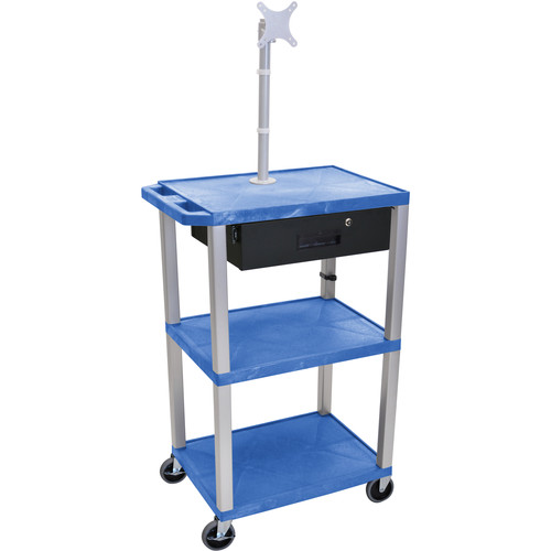 "Luxor 42"" A/V Cart with Monitor Mount, 3 Shelves, Locking Drawer & Electric Assembly (Blue)"