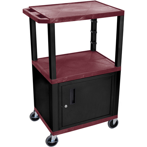 "Luxor 42"" A/V Cart with 3 Shelves and Cabinet (Burgundy Shelves, Black Legs)"