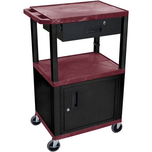 "Luxor 42"" A/V Cart with 3 Shelves, Cabinet, Locking Drawer, and Electrical Assembly (Burgundy Shelves, Black Legs)"