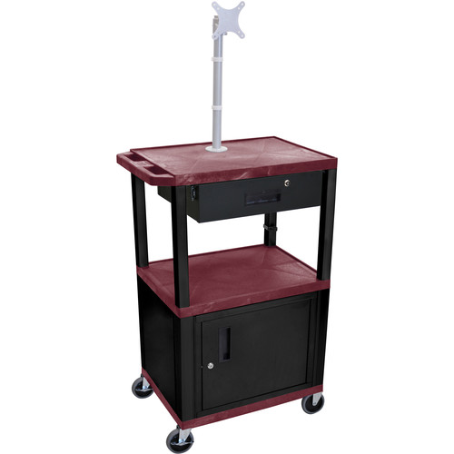 "Luxor 42"" A/V Cart with Monitor Mount, 3 Shelves, Cabinet, Locking Drawer & Electric Assembly (Burgundy)"
