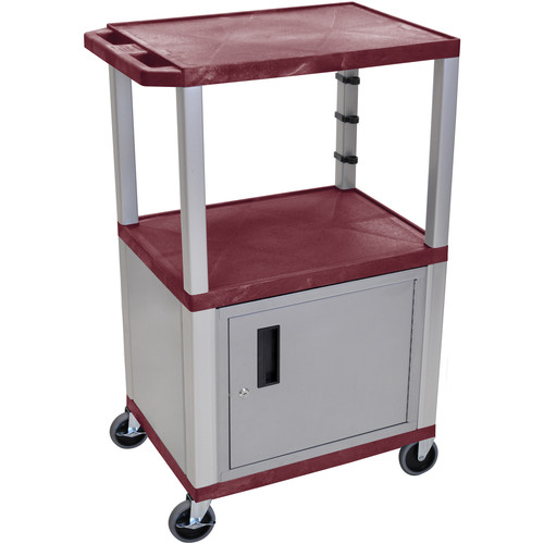 "Luxor 42"" A/V Cart with 2 Shelves, 3-Outlet Electrical Assembly, and Cabinet (Burgundy Shelves, Nickel-Colored Legs and Cabinet)"