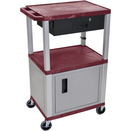 """Luxor 42"""" A/V Cart with 2 Shelves,Cabinet, 3-Outlet Electrical Assembly, and Locking Drawer (Burgundy Shelves, Nickel-Colored Legsand Cabinet)"""