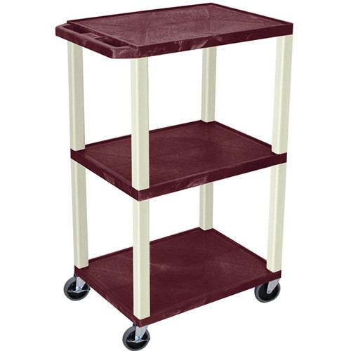 "Luxor 42"" A/V Cart with 3 Shelves and Electrical Assembly (Burgundy Shelves, Putty Legs)"