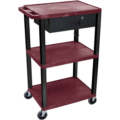 "Luxor 42"" A/V Cart with 3 Shelves Locking Drawer and Electrical Assembly (Burgundy Shelves, Black Legs)"