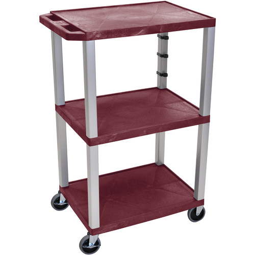 "Luxor 42"" A/V Cart with 3 Shelves and 3-Outlet Electrical Assembly (Burgundy Shelves, Nickel-Colored Legs)"
