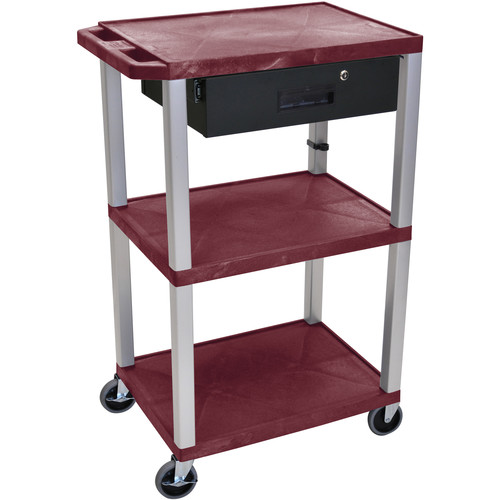 """Luxor 42"""" A/V Cart with 3 Shelves, 3-Outlet Electrical Assembly, and Locking Drawer (Burgundy Shelves, Nickel-Colored Legs)"""
