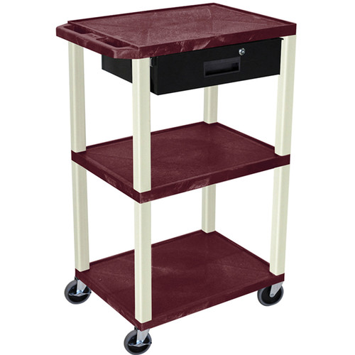 "Luxor 42"" A/V Cart with 3 Shelves, 3-Outlet Electrical Assembly, and Locking Drawer (Burgundy Shelves and Putty Legs)"