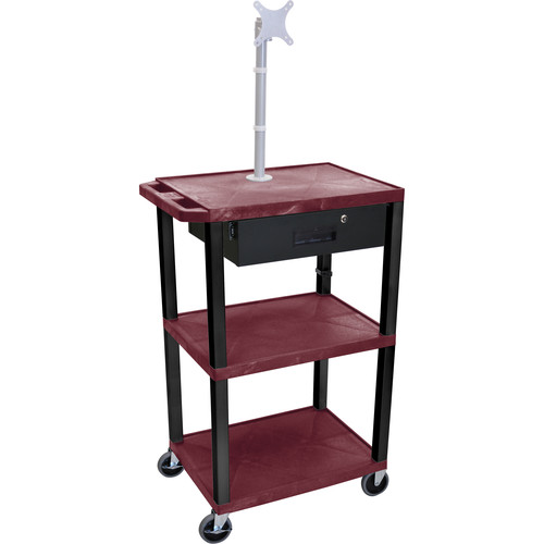 """Luxor 42"""" A/V Cart with Monitor Mount, 3 Shelves, Locking Drawer & Electric Assembly (Burgundy)"""