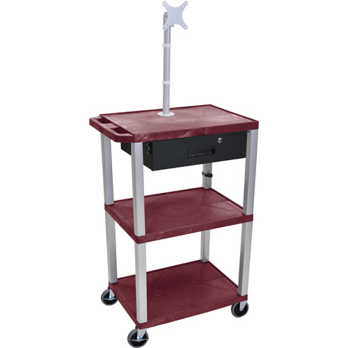 "Luxor 42"" A/V Cart with Monitor Mount, 3 Shelves, Locking Drawer & Electric Assembly (Burgundy)"