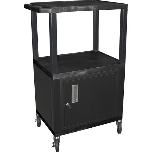 "Luxor 42"" A/V Cart with 3 Shelves and Cabinet (Black Shelves, Black Legs)"