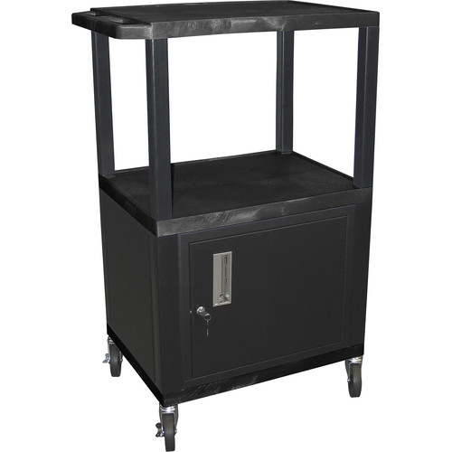 "Luxor 42"" A/V Cart with 3 Shelves and Cabinet (Black Shelves, Black Legs)"