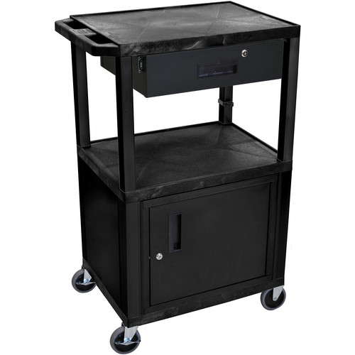 "Luxor 42"" A/V Cart with 3 Shelves, Cabinet, and Locking Drawer (Black Shelves, Black Legs)"