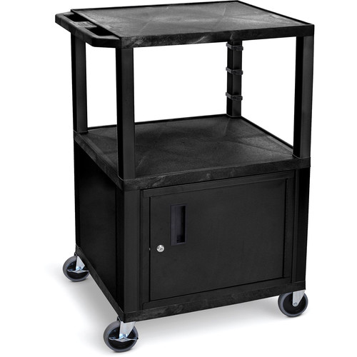 "Luxor 42""H Av Cart - 3 Shelves, Cabinet - Black Legs"