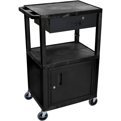 "Luxor 42"" A/V Cart with 3 Shelves, Cabinet, Locking Drawer, and Electrical Assembly (Black Shelves, Black Legs)"