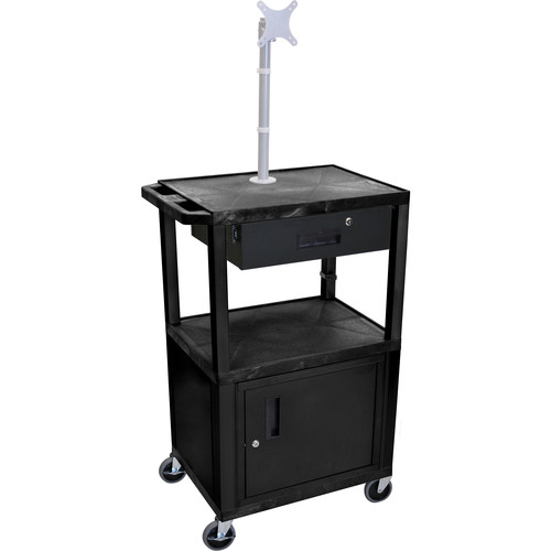 "Luxor 42"" A/V Cart with Monitor Mount, 3 Shelves, Cabinet, Locking Drawer & Electric Assembly (Black)"