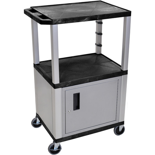 """Luxor 42"""" A/V Cart with 2 Shelves, 3-Outlet Electrical Assembly,and Cabinet (Black Shelves, Nickel-Colored Legsand Cabinet)"""