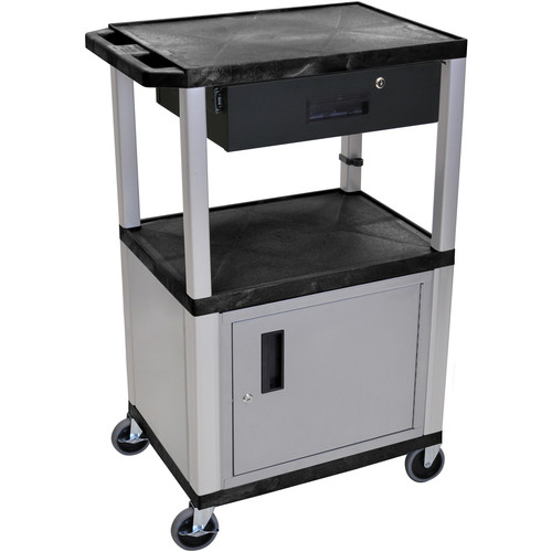 "Luxor 42"" A/V Cart with 2 Shelves, Cabinet, 3-Outlet Electrical Assembly, and Locking Drawer (Black Shelves, Nickel-Colored Legs and Cabinet)"