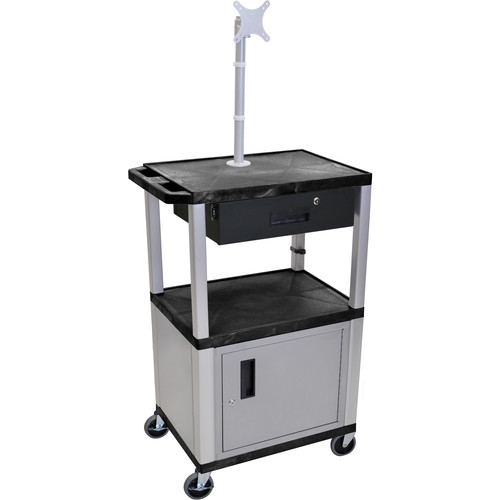 """Luxor 42"""" A/V Cart with Monitor Mount, 3 Shelves, Cabinet, Locking Drawer & Electric Assembly (Black)"""