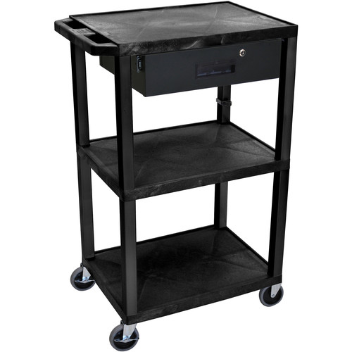 "Luxor 42"" A/V Cart with 3 Shelves Locking Drawer and Electrical Assembly (Black Shelves, Black Legs)"