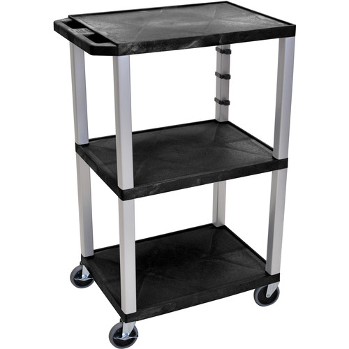 "Luxor 42"" A/V Cart with 3 Shelves and 3-Outlet Electrical Assembly (Black Shelves, Nickel-Colored Legs)"
