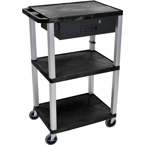 """Luxor 42"""" A/V Cart with 3 Shelves, 3-Outlet Electrical Assembly, and Locking Drawer (Black Shelves, Nickel-Colored Legs)"""