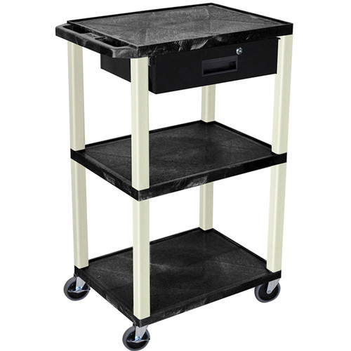 "Luxor 42"" A/V Cart with 3 Shelves, 3-Outlet Electrical Assembly, and Locking Drawer (Black Shelves and Putty Legs)"