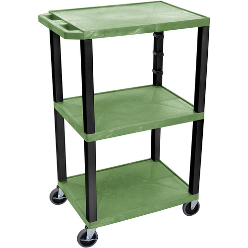 "Luxor 42"" A/V Cart with 3 Shelves (Green Shelves, Black Legs)"