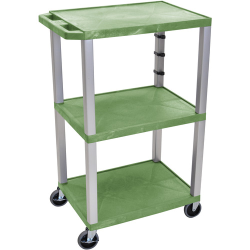 "Luxor 42"" A/V Cart with 3 Shelves (Green Shelves, Nickel-Colored Legs)"