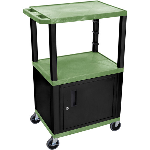 "Luxor 42"" A/V Cart with 3 Shelves and Cabinet (Green Shelves, Black Legs)"