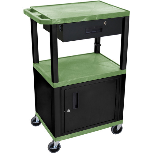 "Luxor 42"" A/V Cart with 3 Shelves, Cabinet, Locking Drawer, and Electrical Assembly (Green Shelves, Black Legs)"